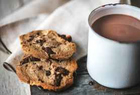 chocolate chip cookies near chocolate drink